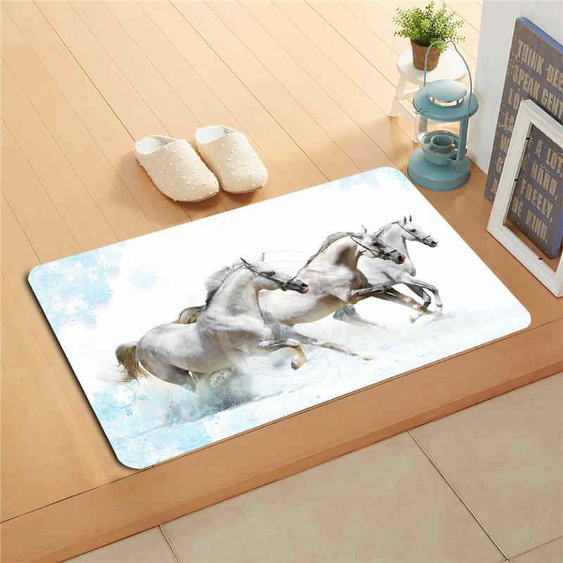 W530L2 na zamówienie piękne brązowy koń malarstwo akwarela wycieraczka Home Decor drzwi maty podłogowe maty do kąpieli maty podnóżek # F2