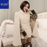 Women Poncho Rice White Cape Office Lady Double Breasted With Belt Elegant Turn down Collar Blazer 2018 Winter Fashion Coats