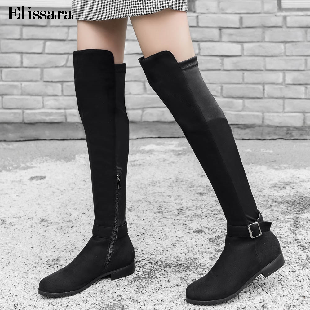 Ladies Womens Winter Over The Knee High Heel Zip Casual Thigh High Boots Size