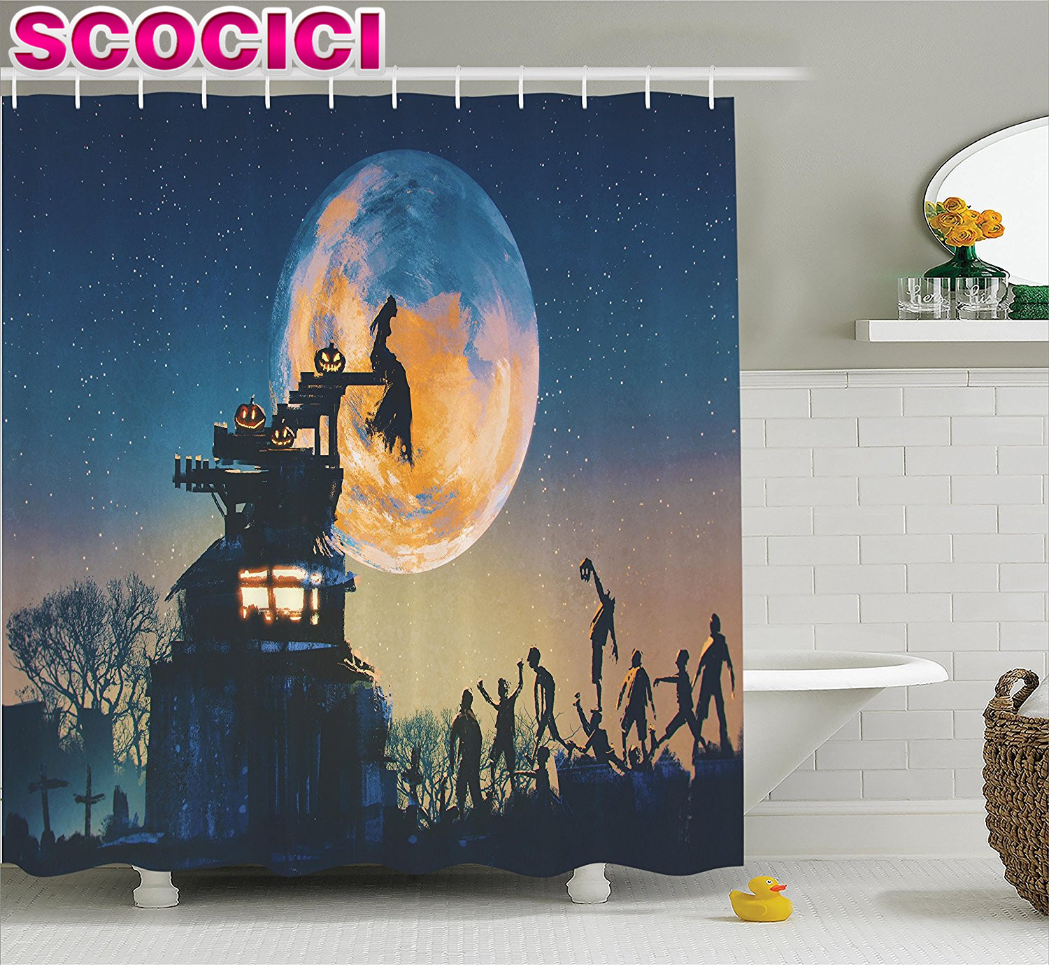 Fantasy World Decor Shower Curtain Set Dead Queen In Castle And Zombies In Cemetery Love Affair