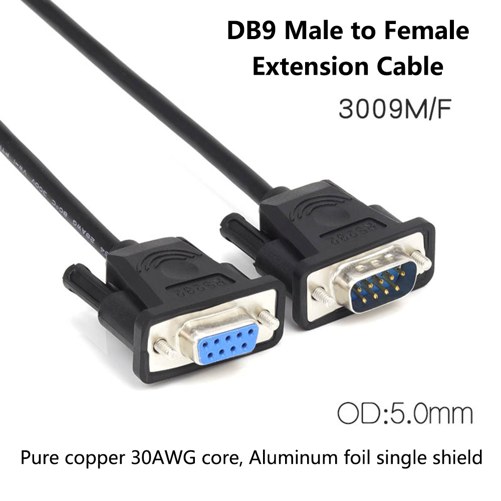 small resolution of db9 male to female extension cable pure copper line rs232 9 pin serial connector wire com core with aluminum foil shield in vga cables from consumer
