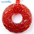 JoursNeige Natural Red Agate Lucky Buckle Pendant Double Brave Troops National Wind Red Rope Sweater Necklace Amulet Men Women