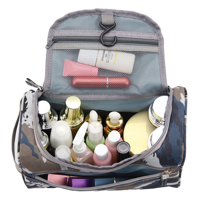 где купить Wulekue Navy Camouflage Men Hanging Makeup Bag Nylon Travel Organizer Cosmetic Bag Large Capacity Makeup Case Wash Toiletry Bag по лучшей цене