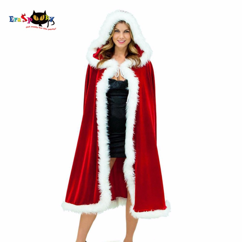 Eraspooky 2017 Winter Thickness Christmas Cloak Women Christmas Costume Cosplay Female Red Velvet Cape Hooded Carnival Costume