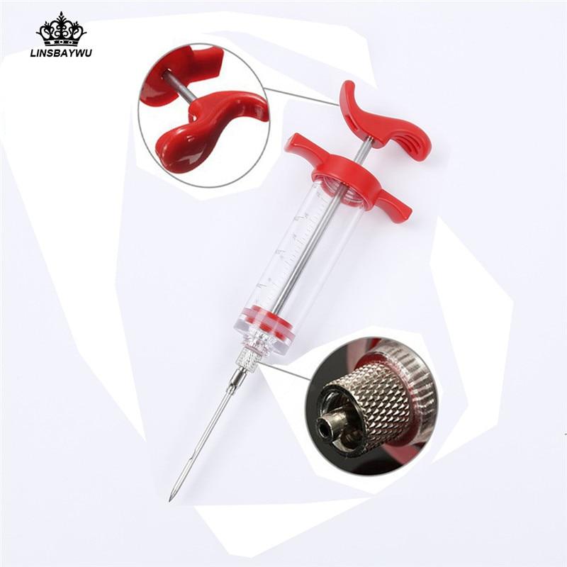 1Pc Hot Sale BBQ Meat Syringe Marinade Injector Turkey Chicken Flavor Syringe Kitchen Cooking Syinge Accessories