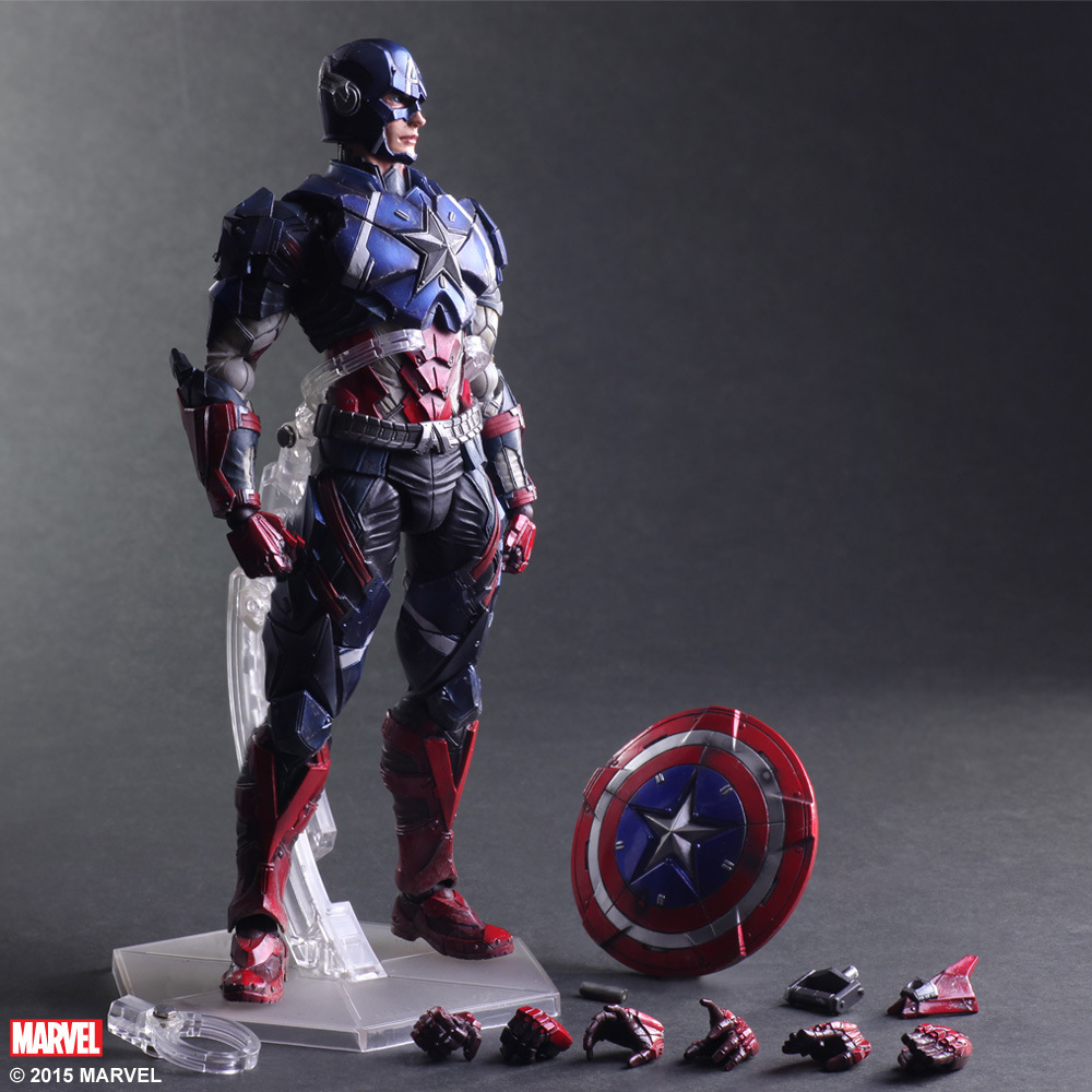 Captain America PVC Action Figure Collectible Model Toy 28cm captain america civil war bobble head pvc action figure collectible model toy doll 10cm
