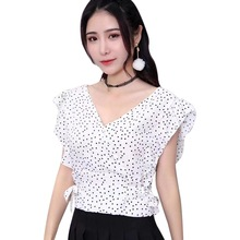 Dot Print Elegant Chiffon Blouse Women Short Sleeve Ruffles Lace Up Nipped Waist Blouse Sexy V-Neck blusas mujer de moda 2019 flower print lace up fluted sleeve blouse