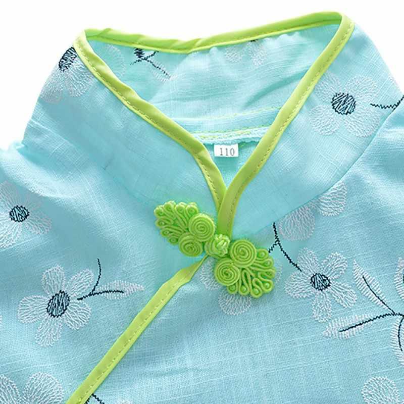 夏幼児キッズガールズ服花チャイナ綿 Tシャツトップス + パンツ中国スタイル唐スーツセット 2 個