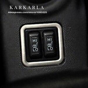 Hot aço inoxidável botão de aquecimento do assento quadro decorativo modificação guarnição interior para mitsubishi outlander 2013-2016