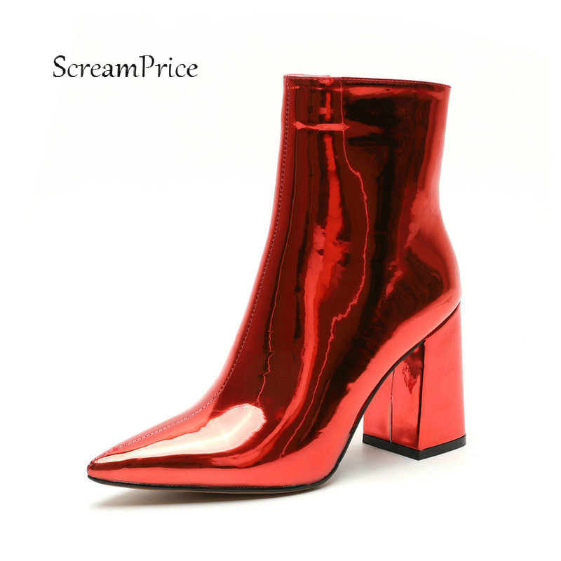 Women Sexy Patent Leather Thick High Heel Ankle Boots Fashion Side Zipper Boots Ladies Pointed Toe Fall Winter Shoes Black Red ladies suede crystal thick high heel ankle boots fashion side zipper boots women round toe fall winter shoes black wine red