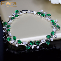 6 Colors Options Sterling Silver Leaf And Flower Crystal Stone Emerald Green Charm Bracelets Jewelry For
