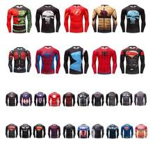man tshirt Marvel series digital printing long sleeve sport tights Rashguard(China)