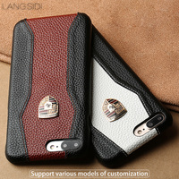 LANGSIDE Case For OnePlus 5T Genuine Leather Back Cover Stitching Litchi Texture Top Layer Cowhide Cover