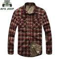 2017 Inverno Quente Engrosse Homens Camisas de Vestido Xadrez de Manga Longa Camisas Masculinas Hombre Blusas Blusa Vestidos Roupas de Negócios
