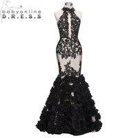 Babyonlinedress Elegant Black Mermaid Evening Dresses Long 2018 Sexy Open Back Lace Halter Neck Party Gowns vestido de festa
