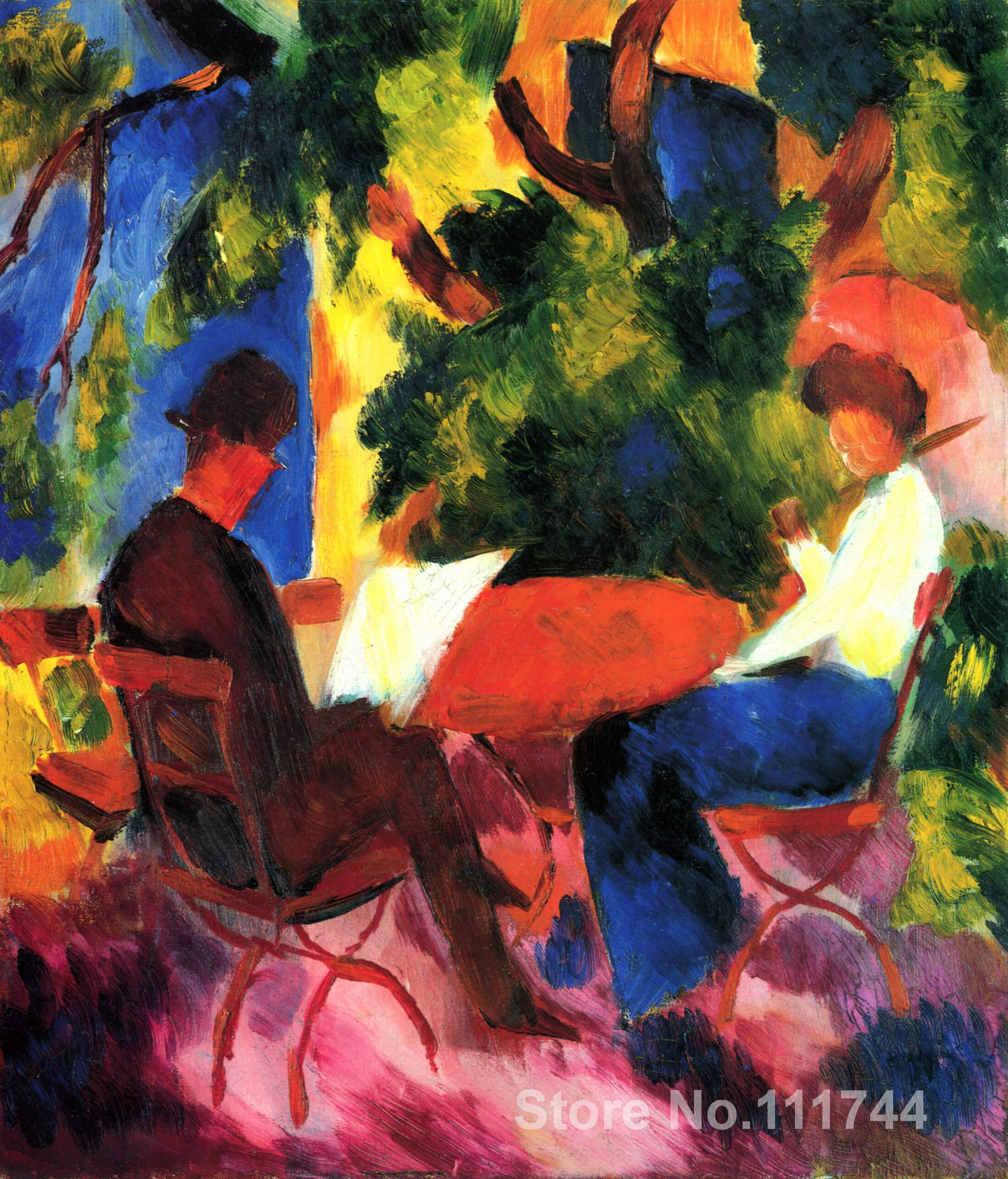 Copy paintings of famous artist At the font b Garden b font Table August Macke font