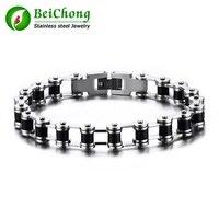 10 Pieces Lot Black Motorcycle Chain Bracelets Top Quality 316L Stainless Steel Mens Bracelets Biker