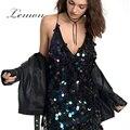 Lemon Новые Моды для Женщин Dress Глубокий V Шеи Без Рукавов Спинки Высокая Талия Спагетти Ремень Mini Dress Sequin Уличная Sexy Dress