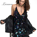 Lemon New Fashion Women Dress Deep V Neck Sleeveless Backless High Waist Spaghetti Strap Mini Dress Sequin Streetwear Sexy Dress