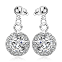 Free Shipping Best Seller 925 Sterling Silver Accessories White Zircon Glass Earrings Creative Disc Ornaments Roman