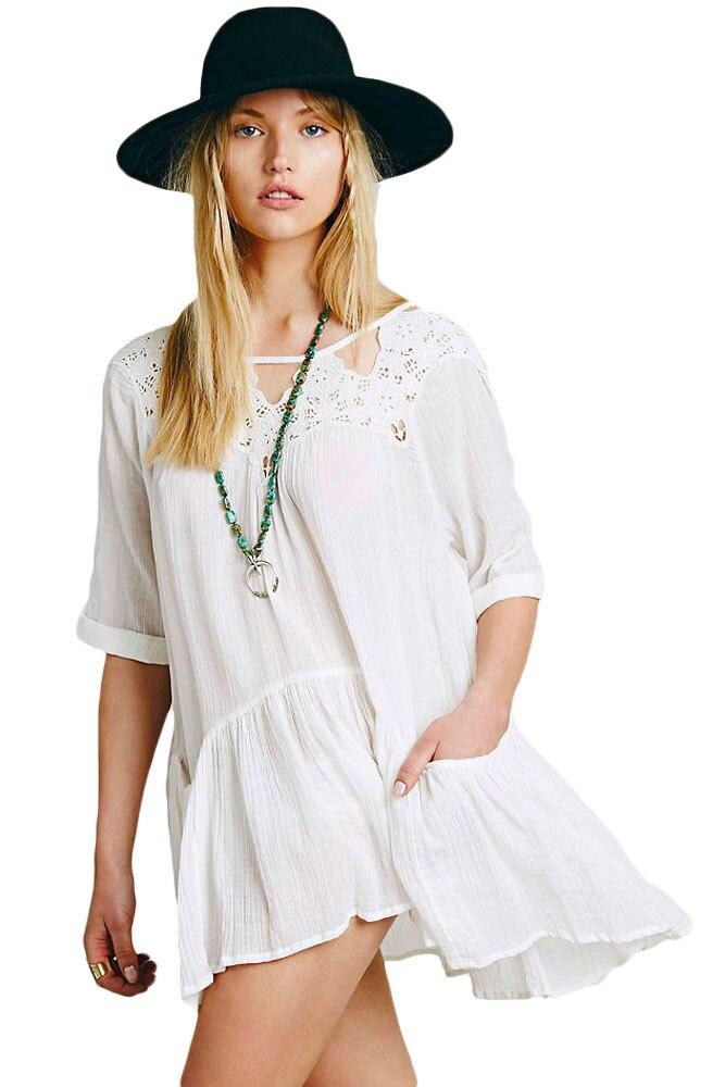 Offres spéciales été mousseline de soie robe de plage nouveau patterm mince dentelle épissure sexy robes femmes lanterne manches blanc femmes vêtements