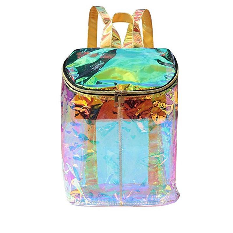 Women Clear Transparent Hologram Holographic Envelope Backpack for Girl  School Bag Satchel Mochila Feminina Mujer Waterproof