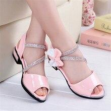 Hot Girls Sandals Summer Kids Shoes 2017 Brand Peep-Toe Bow Children Sandals Heels For Teen Girls Size 27-37