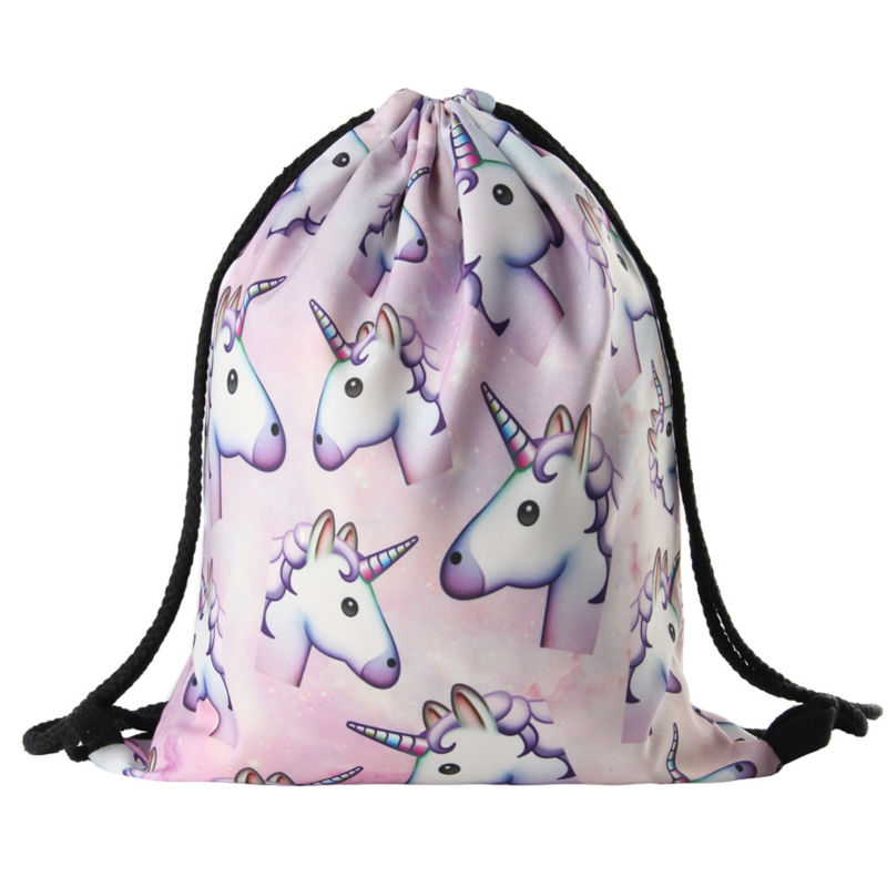 2016 new fashion Women unicorn Backpack 3D printing travel softback women mochila drawstring bag School girls backpacks