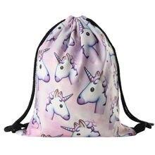 2016 new fashion Women unicorn Backpack 3D printing travel softback  women mochila drawstring bag School girls backpacks