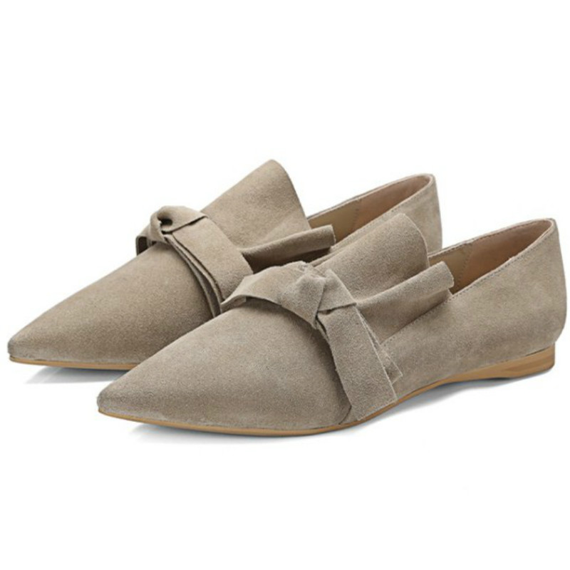 2017 New spring brand designs women genuine sheepskin leather flat heel single shoes woman sweet pointed toe ballet flats loafer new 2017 spring summer women shoes pointed toe high quality brand fashion womens flats ladies plus size 41 sweet flock t179