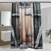 HOT Wooden Door Exterior Facades Rural Barn Timber Weathered Picture Polyester Fabric Bathroom Shower Curtain Set