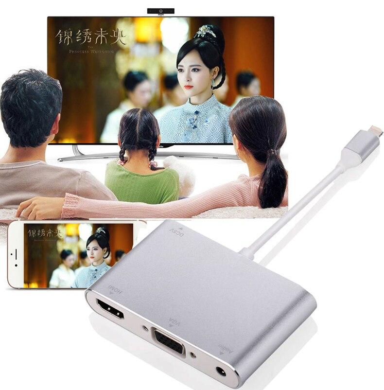 imágenes para NUEVO 3in1 Video Stream Teléfono Adaptador a HDMI TV Proyector VGA Audio Converter para el iphone 6 6 S 7 Más 5 5S ipad Mini Pro para TV