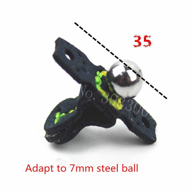 Al aire libre t-tipo cuero de bolsillo construido en imán bola de acero Sucks tirachinas plana redonda banda de goma Universal Honda bolsas