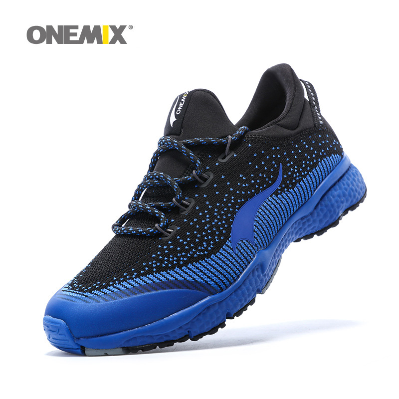 ONEMIX Man Running Shoes For Men Athletic Trainers Black Blue Zapatillas Sports Shoe Outdoor Walking Sneakers Free Ship kelme children white black smooth soccer shoes pu broken nail outdoor running sneakers k15s936
