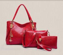 3 PCS/Set Women Handbag Crocodile Pattern Composite Bag Stone Women Messenger Bags Shoulder bag Purse Wallet PU Leather Handbags