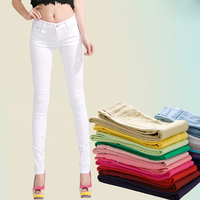 2018 New Stretch Pants Candy Color Pencil Pants Was Thin Color Jeans Female Spring Summer Pants