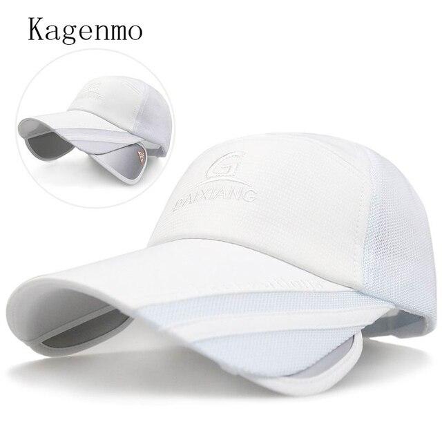 896bba4de1d14 Kagenmo moda gorra de béisbol protector solar piel protector solar  masculina visera grande ala extender malla