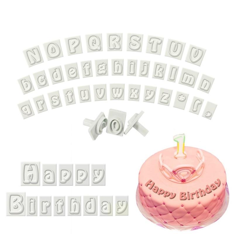 Nombre lettre timbres 64 caractères majuscules et minuscules lettres Alphabet cuisson gâteau moule en plastique emporte-pièce Fondant outil Set Z