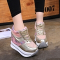 2017 Women Hidden Wedges Casual Shoes Patchwork Woman Lace Up Elevator Shoes 11cm High Heels Zapatos Mujer Ladies Creepers