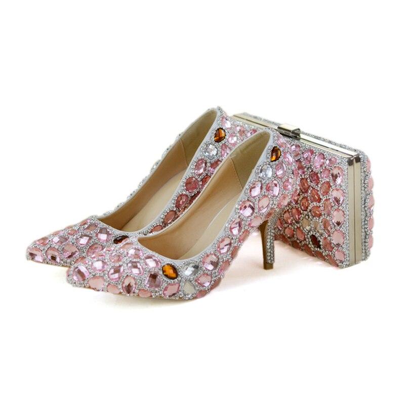 Señora Zapatos Dulce Juego La Prom Cristal Punta Ceremonia Adultos 7cm Partido Tacón Cumpleaños Bolsa Del Bag De Pie With Conjunto Pink Rosa Con En Dedo Alto qIn5AwR715