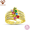 AIJAJA Personalized Sterling Silver Women Rings Customized 8 Birthstones Names Engraved Lord of Rings for Best Friends Family