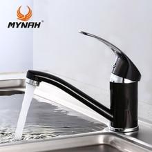 MYNAH Russland kostenloser versand Neue Ankunft küchenarmatur Küchenarmatur Einlochmontage Wasserhahn torneira cozinha Schwarz M4503I
