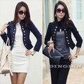 Senhoras das mulheres coreanas vestir para trabalhar manga comprida botão magro Peplum Cropped Blazer brasão Jacket Cardigan Casual frete grátis
