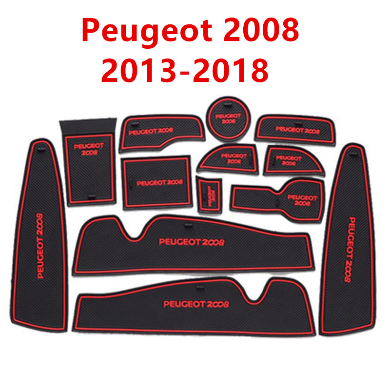Anti-Slip Rubber Gate Slot Mat Cup Mats For Peugeot 2008 2013-2018 Accessories Stickers Styling 2013 2014 2015 2016 2017 2018