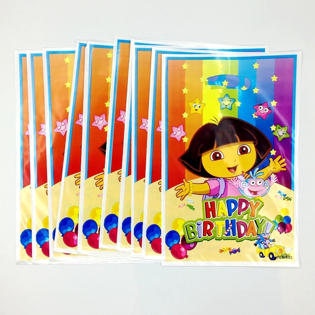 10pcs Dora The Explorer Theme Loot Bag Boy Kids Favor Cartoon Gift Birthday Party Wedding