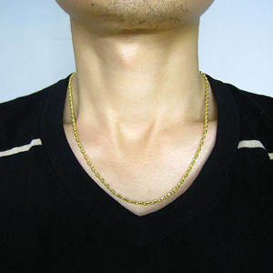 Image 3 - Fine Au750 Real 18K Yellow Gold Chain Women Men Stud Link Necklace 24inch