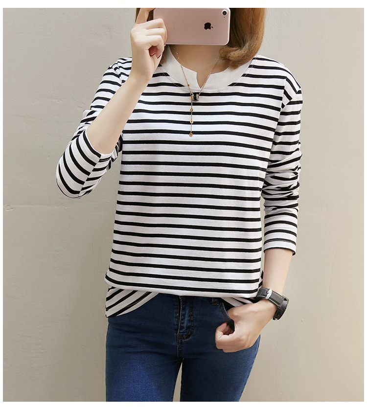 NFIVE Brand 2017 Women's Stripe Loose T-shirts Korean Autumn New Long Sleeved Large Size Shirt Quality Fashion Cotton T-shirt 19