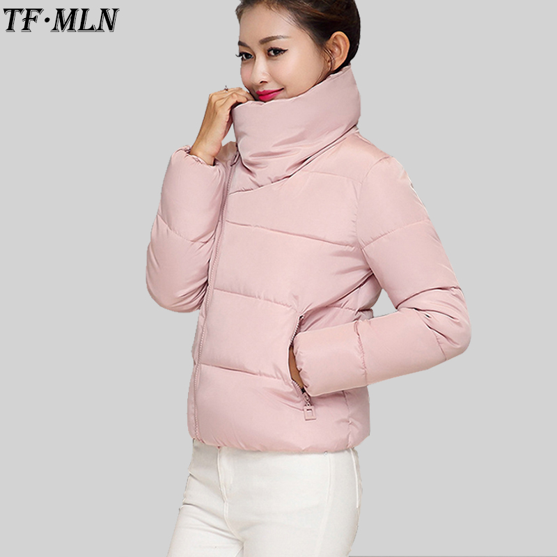 New Winter Jacket Women Cotton Short Parka Fashion 2017 Girls Padded Slim Parkas Stand Collar Coat