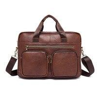 Мужской портфель сумка из натуральной кожи Для Мужчин's Бизнес ноутбук сумка Для мужчин Повседневное Сумка Высокое качество молнии сумки