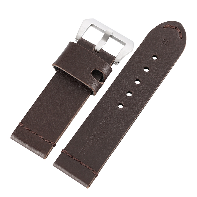 24mm 26mm Mens Genuine leather Watch Band Replacement Bracelet Sport Military Wrist Strap with Pin Buckle for Man Watches